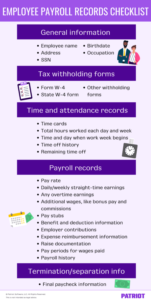 employee payroll records check for business owners
