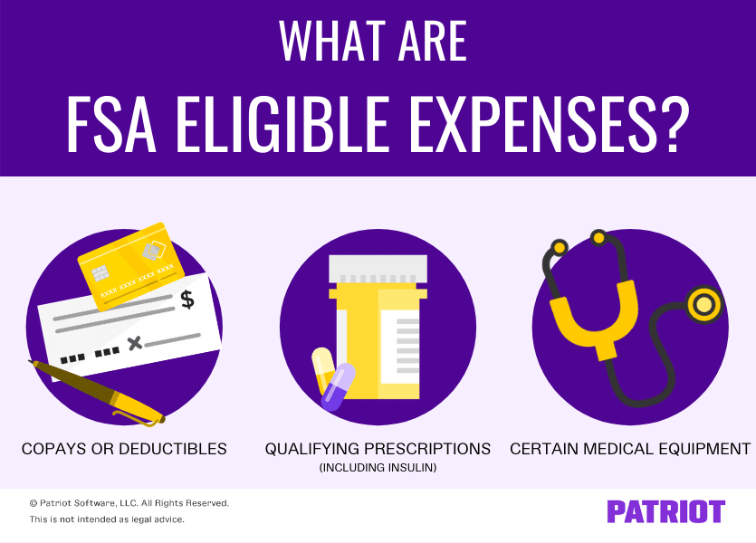 FSA eligible expenses include copays or deductibles, qualifying prescriptions, and certain medical equipment