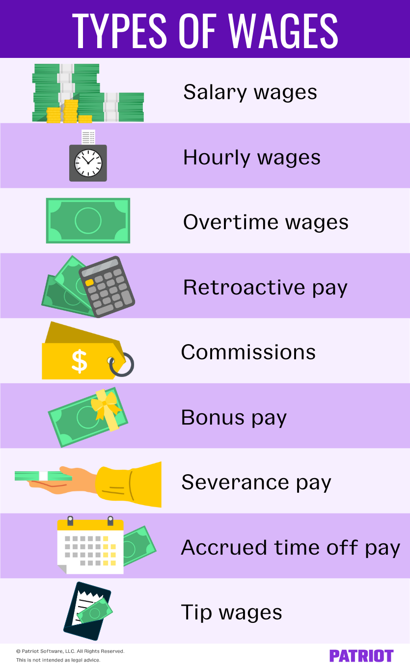Types of wages: salary, hourly, overtime, retroactive, commissions, bonuses, severance, accrued time off, tip wages