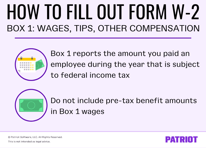 Information about Form W-2 Box 1: Box 1 reports an employee's taxable income and does not include pre-tax benefit amounts