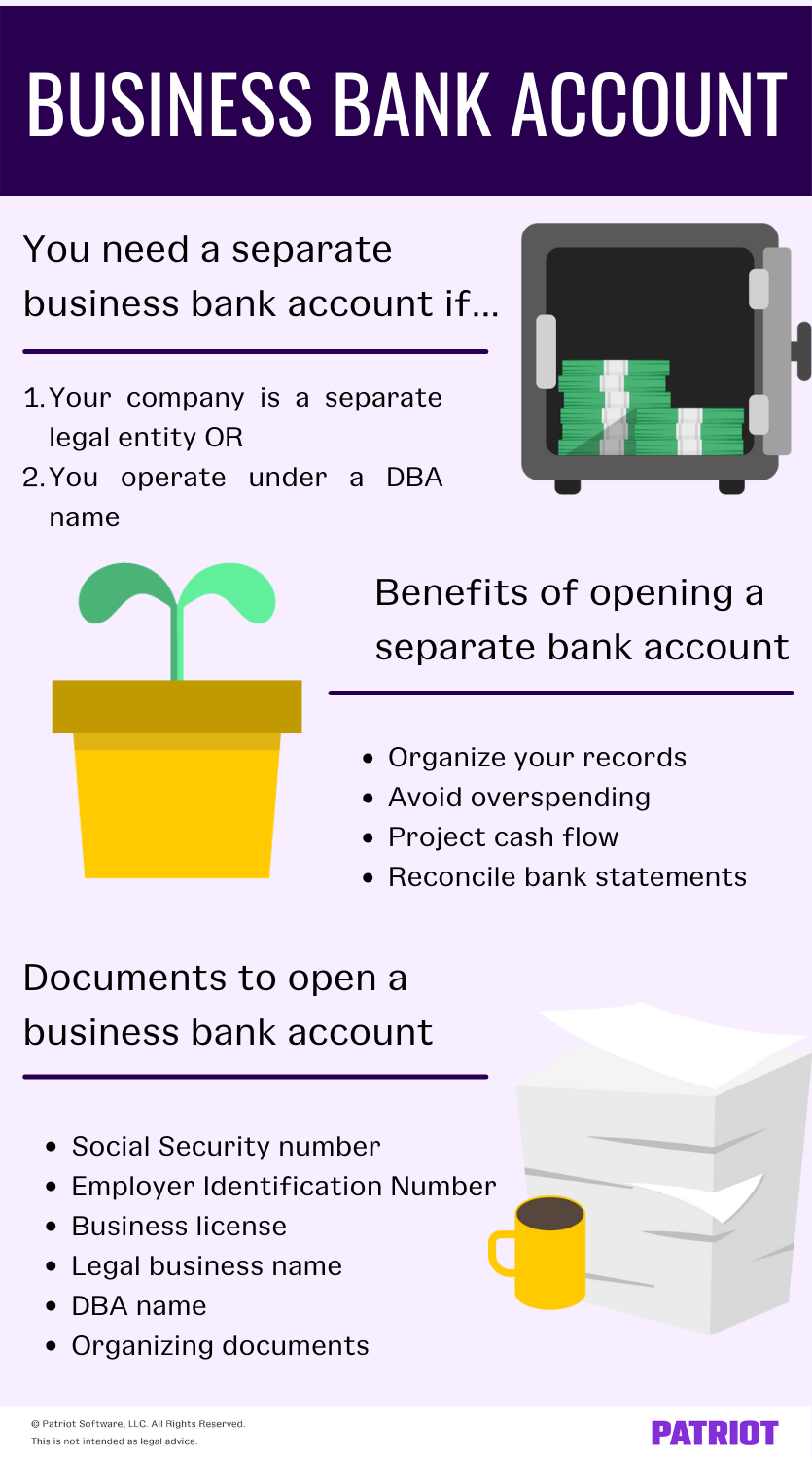 Infographic outlining reasons you need a separate business bank account, some benefits, and documents to open a business bank account