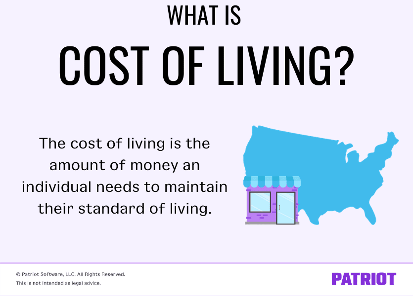 image with illustration of map and house defining what is cost of living