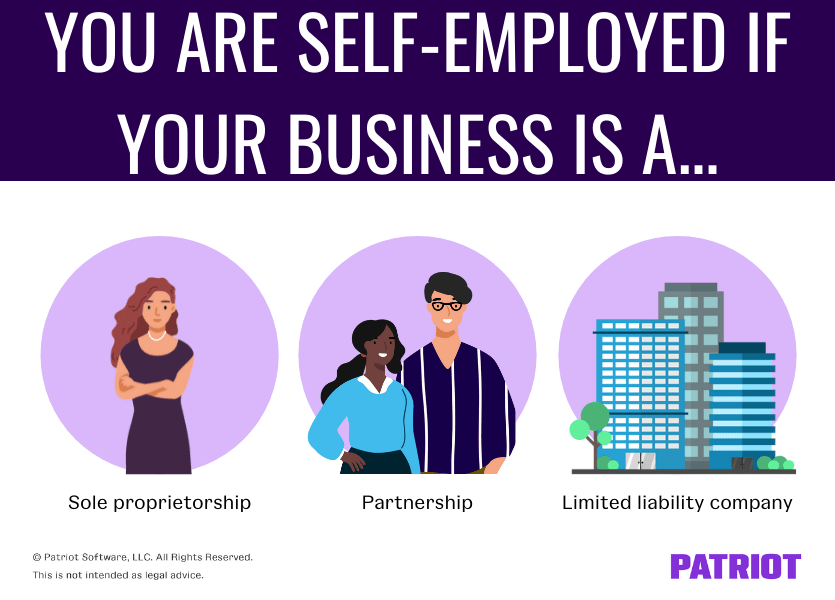 You are self-employed if your business is a sole proprietorship, partnership, or LLC