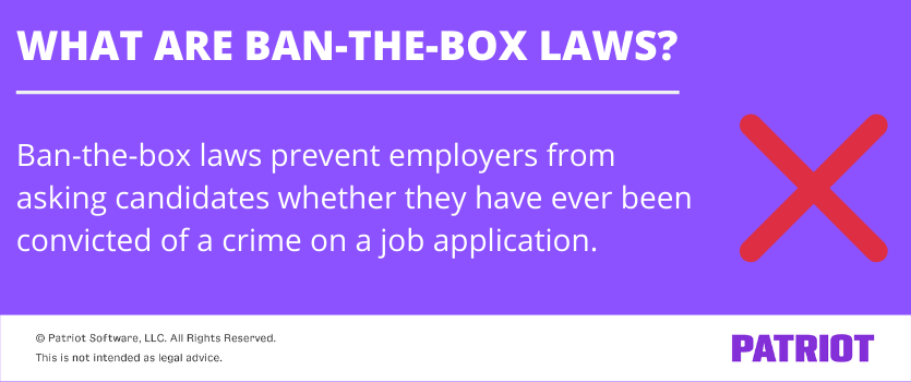 definition of ban-the-box laws with purple background and a big red x