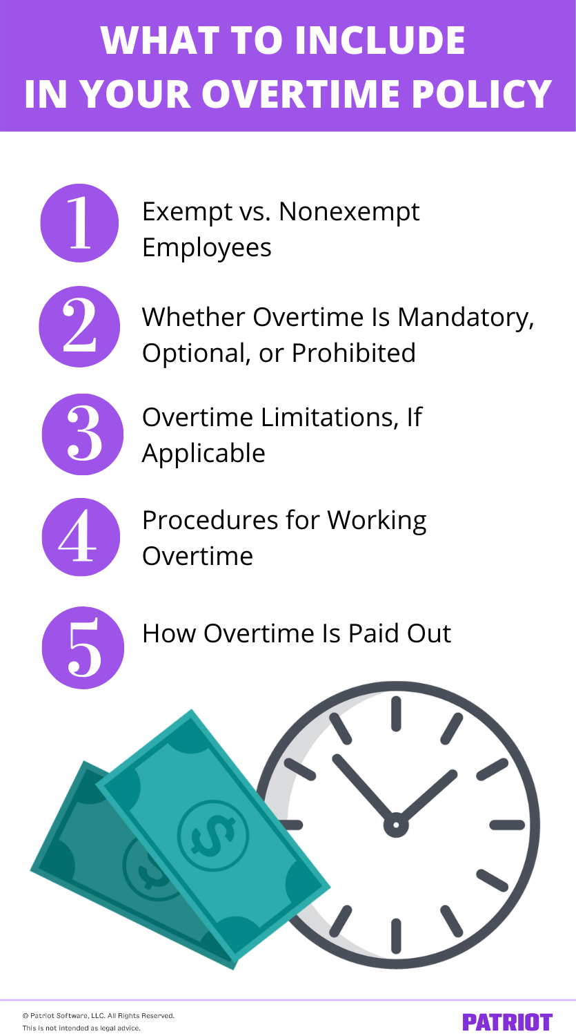 list of 5 things to include in an overtime policy