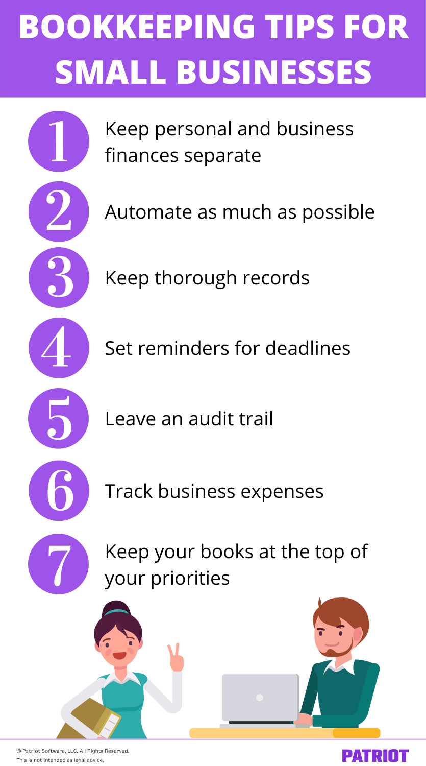 list of bookkeeping tips for small businesses with illustration of man on computer and woman holding accounting books
