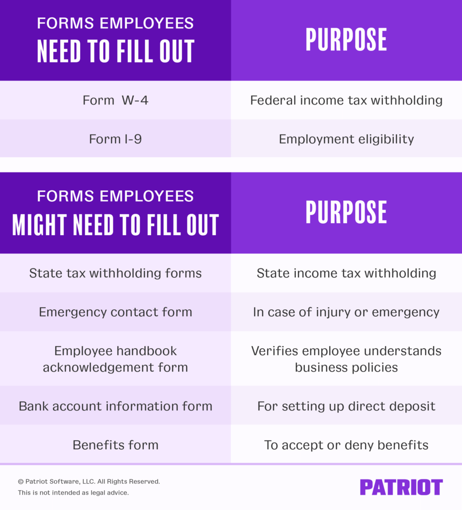 new employee forms