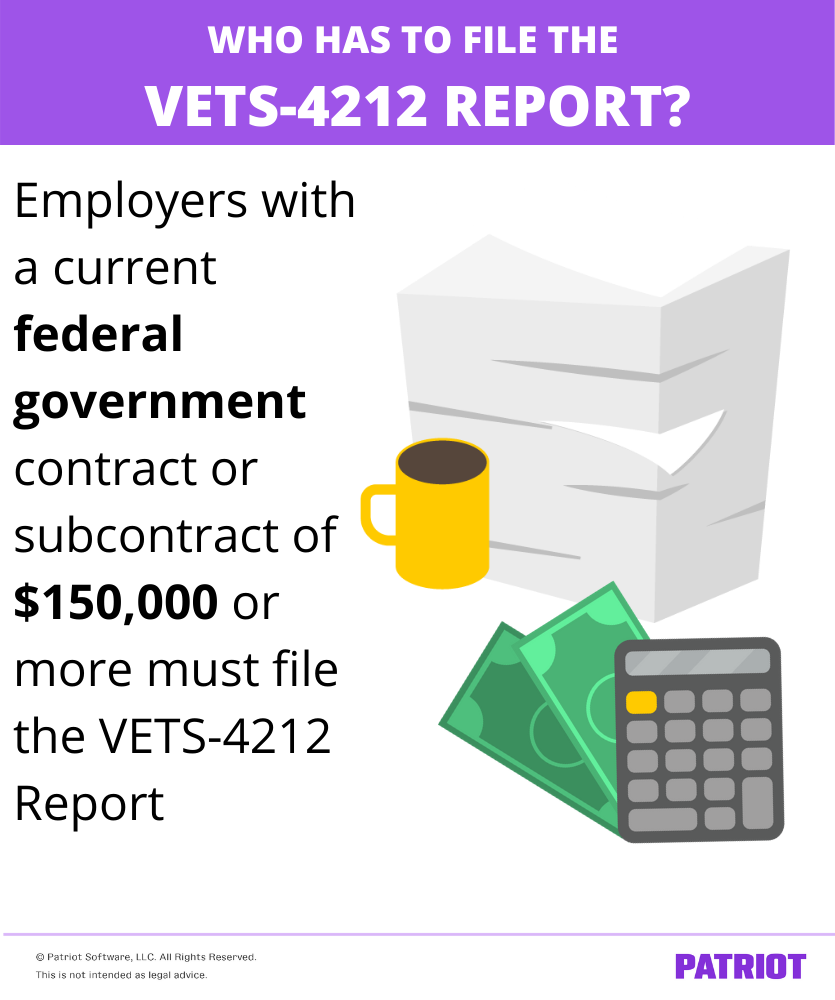Visual defining which employers must file the VETS-4212 report