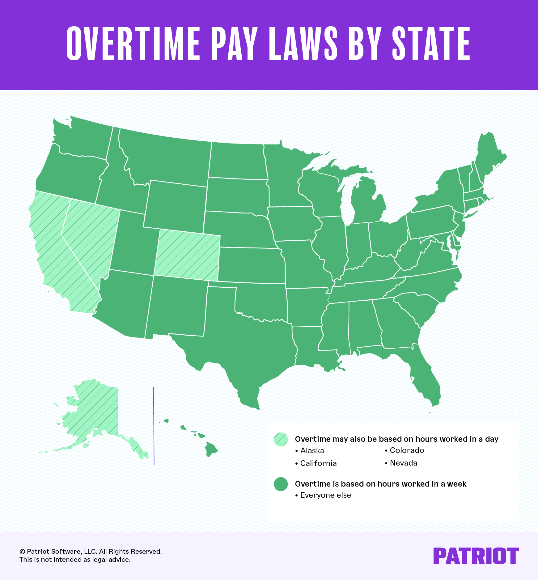map detailing overtime pay laws by state