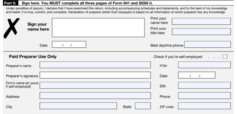 form 941 part 5 quarter 3 and 4