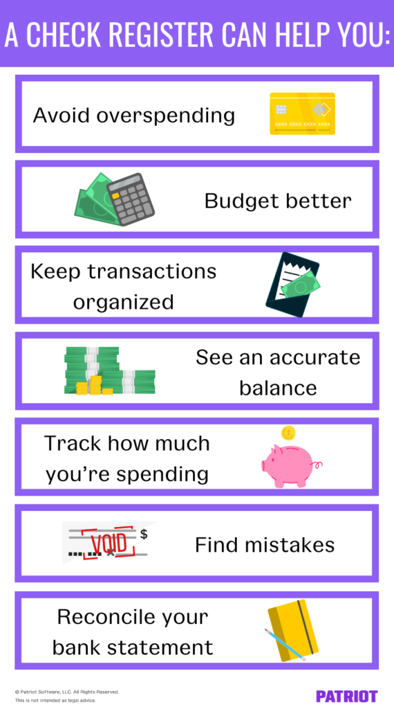 seven ways a check register can help you, with illustrations