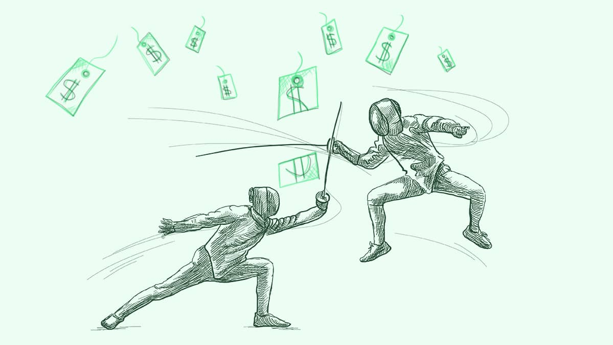 illustration of two people fencing and fighting in a price war