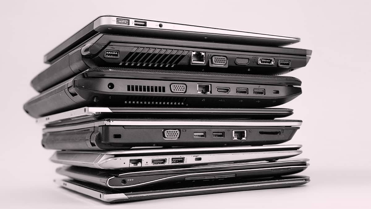 stack of different types of laptops