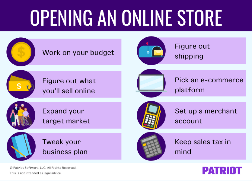 eight steps to opening an online store: 1) work on budget, 2) figure out what you'll sell online, 3) expand your target market, 4) tweak your business plan 5) figure out shipping 6) pick an e-commerce platform 7) set up a merchant account 8) keep sales tax in mind