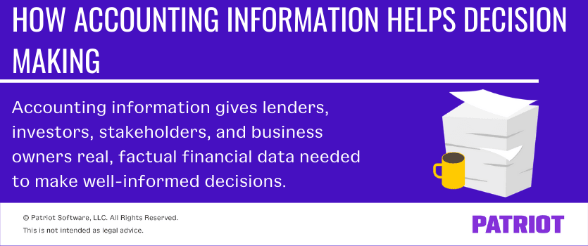 How accounting information helps in decision making. Accounting information gives lenders, investors, stakeholders, and business owners real, factual financial data needed to make well-informed decisions.