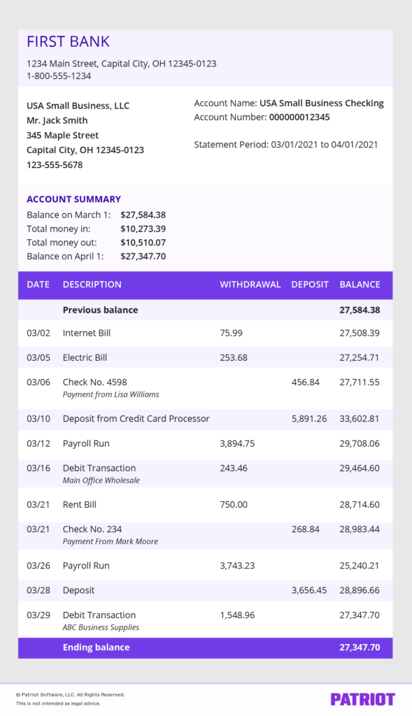 example of a business bank statement