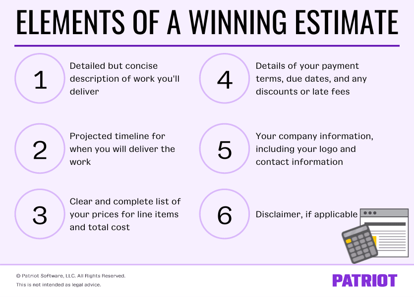 Elements of a winning estimate. Detailed by concise description of work you'll deliver. Projected timeline for when you will deliver the work. Clear and complete list of your prices for line items and total cost. Details of your payment terms, due dates, and any discounts or late fees. Your company information, including your logo and contact information. Disclaimer, if applicable.