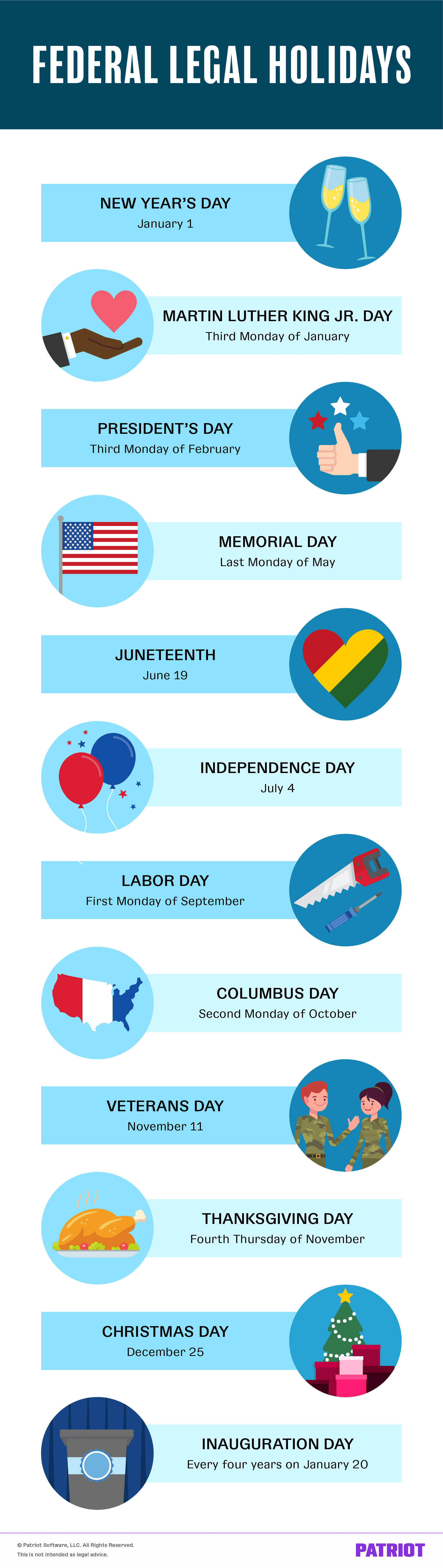 list of federal legal holidays for businesses