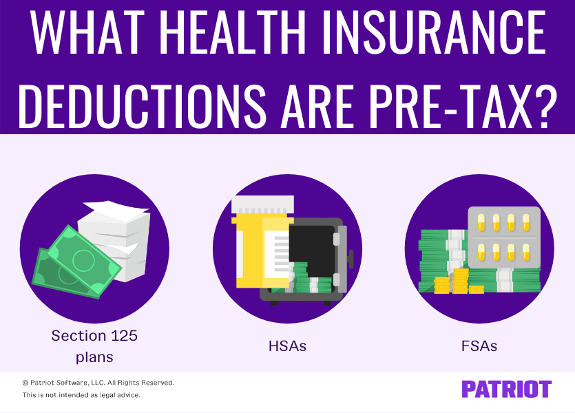 What health insurance deductions are pre-tax? Section 125 plans, HSAs, and FSAs.