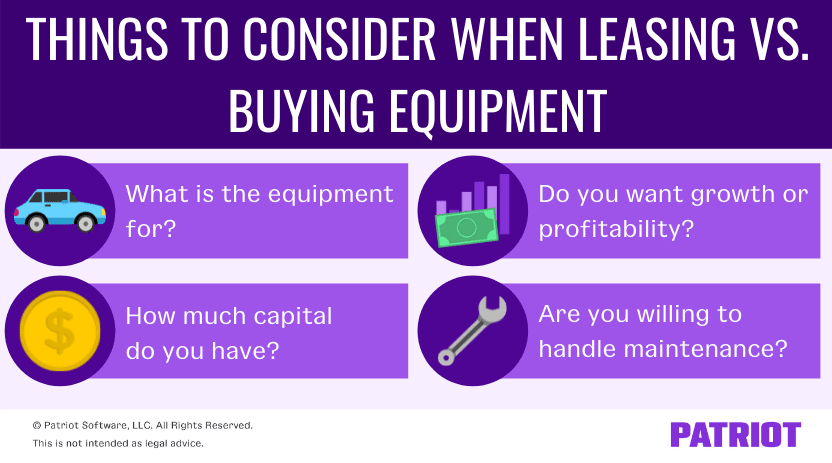 things to consider when leasing vs. buying equipment for your business