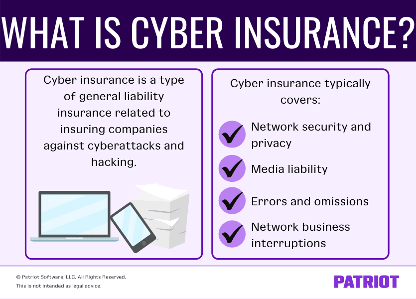 What is cyber insurance? Cyber insurance is a type of general liability insurance related to insuring companies again cyberattacks and hacking. Cyber insurance typically covers, network security and privacy, media liability, errors and omissions, and network business interruptions.