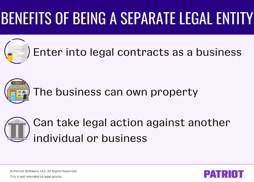 The benefits of being a separate legal entity are being able to enter into legal contracts as a business, owning property, and the business can take legal action against another individual or business.